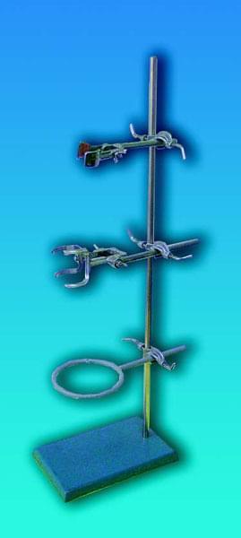 Stojan laboratorní BUNSEN, kompletní, délka tyče 750 mm