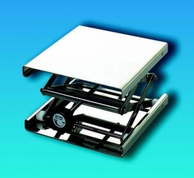 Zvedáček laboratorní nerezový – nastavitelný stojan, plošina 100 × 100 mm