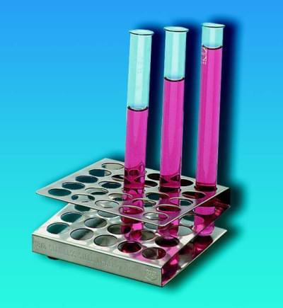 Stojan na zkumavky, čtercový, nerezový, pro zkumavky o průměru do 13 mm, 5 × 5 míst