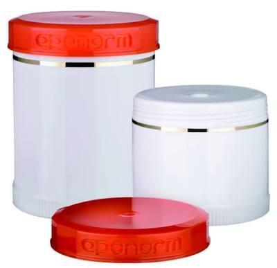 35430 Topitec ozdobný dávkovací kelímek s výtlačným pístem (bílá/oranžová) 200g/250ml