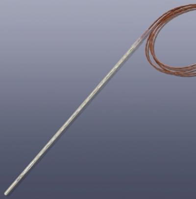 KM-TPG - Pt100 teplotní čidlo, průměr 6 x 400 mm, skleněný plášť do 250°C, bez koncovky
