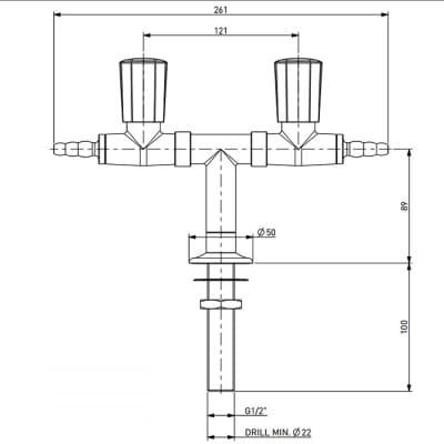 TOF 2000/50 - Dvojitý laboratorní plynový kohout, T distribuce