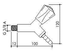 TOF 2000/3 - Laboratorní plynovýkohout, hlavice 45°