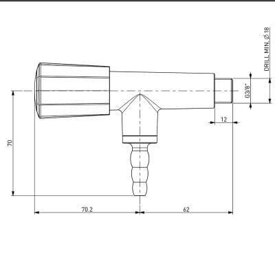 TOF 2000/20 - Laboratorní plynový kohout, 90°