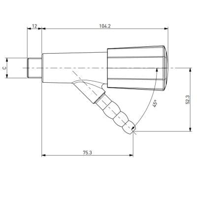 TOF 2000/2 - Laboratorní plynový kohout, 45°