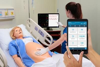 Mateřský a novorozenecký simulátor včetně novorozence PEDI Blue + OMNI2