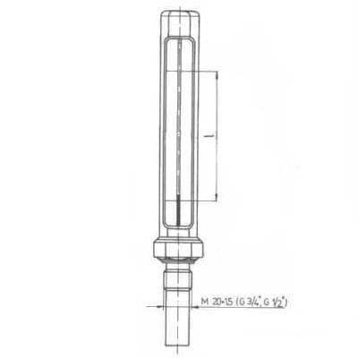 Teploměr kotlový - typ 240, přímý, bez pouzdra