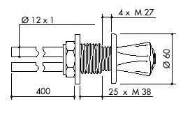 TOF 1000/130 - Laboratorní ovládací ventil, napojení na měděné trubice 12×1mm