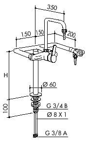 TOF 1000/430 - Laboratorní páková baterie + 1 ventil pro vodu, výtoky dolů
