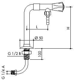 TOF 1000/630 - Laboratorní ventil pro demi vodu s přivodní hadicí, výtok dolů